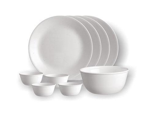 Corelle 4 Dinner Plates + 4 Katoris + 1 Curry Bowl (Round)